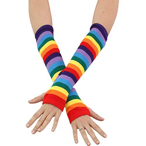 SUSHUN Mujeres Chica Tejido sobre el Codo Calentadores de Brazo Largo Bandera de EE. UU. Rayas arcoíris Patchwork Guantes sin Dedos con Orificio para el Pulgar Traje de Fiesta