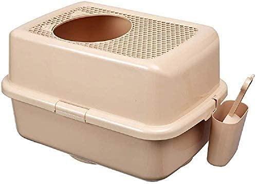 wangYUEQ Boîte à litière Anti-éclaboussures de Haut en Bas, Grosse Toilette Chat, Bassin de Pot de Chat en Trois Couleurs à Choisir, Bleu (Couleur: Brun) (Color : Brown)