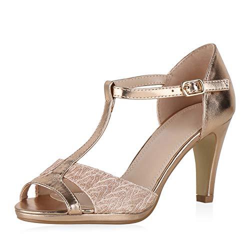 SCARPE VITA Damen Sandaletten Riemchensandaletten Glitzer High Heels Stiletto Party Schuhe Elegante Absatzschuhe Metallic Abendschuhe 190335 Rose Gold All 38