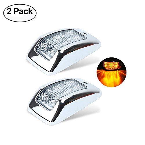 Haichen Lot de 2 feux de gabarit latéraux universels à 6 LED - Ambre/transparent - Avec lunette chromée - 12 V