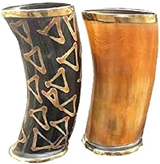 2all Handmade Real Horn Viking Bar Shots Mug Set of 8 Horn Mug from Natural Material Whiskey Shot Glasses Real Horn 2 Mug Cup Ale Beer Wine Glass Goblet Handicrafts Antique Whiskey Shot Glass Cup