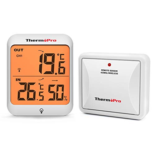 ThermoPro TP63 Thermomètre Hygromètre Numérique sans Fil Thermomètre Extérieur Moniteur D humidité et Température Intérieur Hygromètre avec Écran LCD Rétro-éclairé, Capteur à Distance Rechargeable
