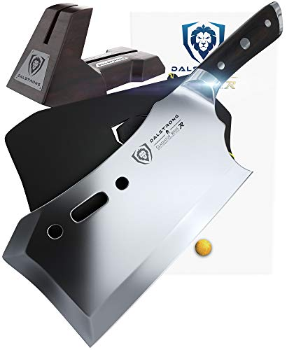 "DALSTRONG Gladiator Series R - Obliterator Meat Cleaver - 9"" - with Stand and Sheath - Massive Heavy Duty - 7CR17MOV High Carbon Steel - 3lbs - 6mm Thick"