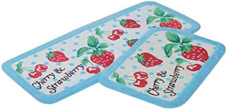 Kariwell Bath Rugs Microfiber Absorbent Bathroom Rug Lovely Korean Strawberry Cherry Ground product image