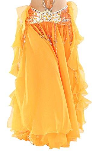 BELLYQUEEN - Mujer Disfraz de Danza de Vientre Latino Flamenca Cintura Elástica Falda de Baile Vuelo sin Cinturón Elegante Atractivo Libre - Naranja