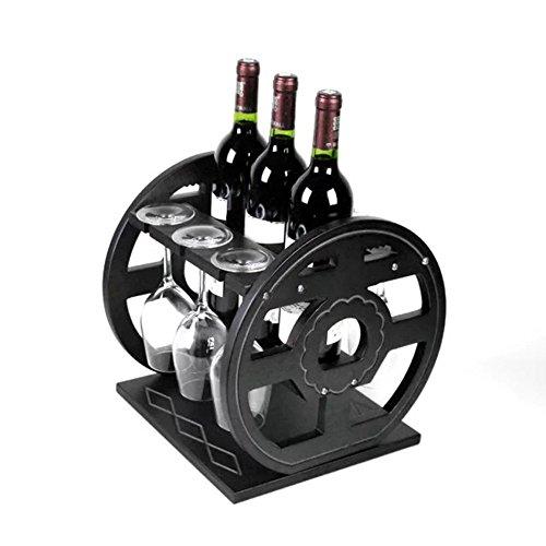 ZWL Créatif casier à vin, roue de motif de fleurs de ménage Woody Multifonction double usage porte-bouteilles de vin porte-verre à l'envers salon casier à vin Valentin Bar restaurant porte-gobelet 30 * 30 * 32cm Étagère à vin.z ( taille : 30*30*32cm )