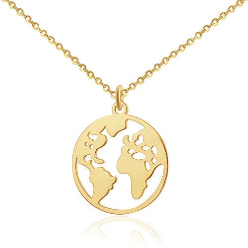Good.Designs  Collar de Mujer con Colgante del Globo (40 + 5cm) Cadena con Colgante de Mapa del Mundo (Oro)