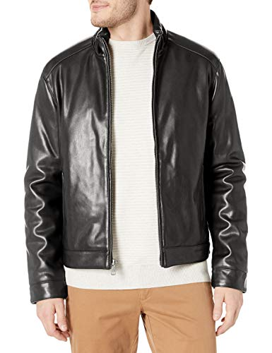 Cole Haan Signature Men's Zip Front Faux Leather Moto Jacket, Black, Medium