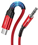 USB C to 3.5mm Audio Aux Jack Cable[3.3ft], JSAUX USB Type C to 3.5mm Headphone Stereo Cord Car Compatible with iPad Pro 2018 Google Pixel 2 3 XL, Samsung Galaxy S21 S20 Ultra Note 20 10 Plus-Red