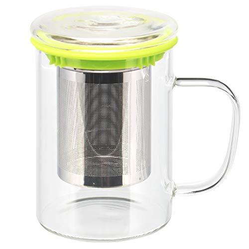 bremermann Teeglas, Teebecher mit Sieb und Deckel/Siebablage, Teetasse mit Dauersieb 84/2048 Vaso de té, Taza de té con colador y Bandeja de Tapa/Filtro, Taza de té con colador Permanente (Verde)