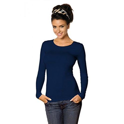 Damen Longsleeve Basic Shirt Stretch-Viskose Langarmshirt Rundhals Top, Gr.-38-40(M) - M,Dunkelblau