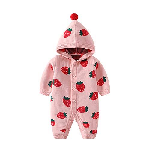 Baby Kapuze Strampler Pullover Baumwolle Jumpsuit Langarm Strick Overall Erdbeer Cartoon Outfits Kleidung für Mädchen 3-6 Monate Rosa