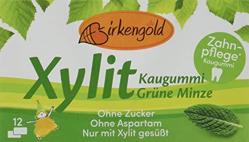 Birkengold Xylit Kaugummi Grüne Minze, 8er Pack | Zahnpflege-Kaugummi | zuckerfrei | 70 % Xylit | vegan | ohne Titandioxid