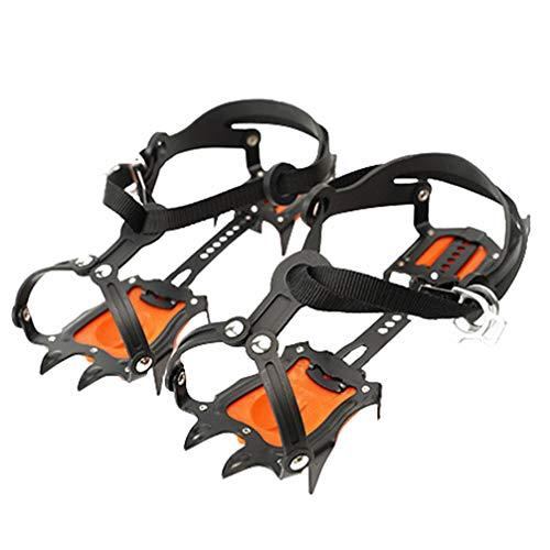 BESPORTBLE Paar Ice Klampen Steigeisen Manganstahl Spikes Steigeisen für Bergschuhe Wanderschuhe Eisspikes Schuhkrallen Anti Rutsch Schuhspikes für Winter Walking Wandern Bergsteigen Orange