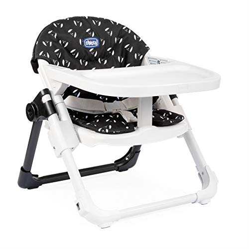 Chicco Chairy - Elevador asiento de silla regulable 4 posiciones, ligero y transportable, 6-36 meses, color azul marino estampado perros (Sweetdog)