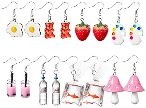 PANTIDE 8 Pairs Funny Dangle Earrings Gummy Bear Goldfish Water Bottle Paint Palette Earrings product image