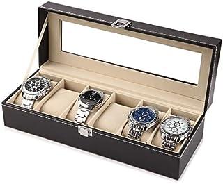 KIVDFIGC Standard 2/3/6/10/12 Slots Leather Watch Display Boxes Watch Storage Box Organizer Holder Black Watch Storage Jew...