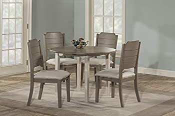 Hillsdale Furniture Round Drop Leaf Table 5 Piece Dining Set Sea White