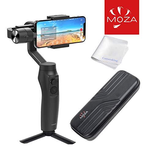 Moza Mini-Mi 3-assige smartphone gimbal stabilisator met draadloos opladen en stootvaste harde case (voor iPhone 6/7/8/X/XR & Samsung S8/9/10) (max. Draaglast: 300 g.