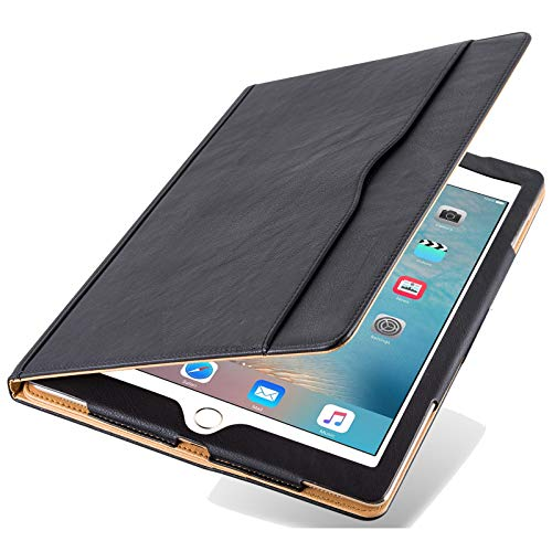 Executive Quality Black & Tan Leather Smart Flip Stand Case Cover for Apple iPad Pro 10.5'' 2017 Edition, with Multiple Viewing Angles, Document Card Pocket and Auto Wake/Sleep Function