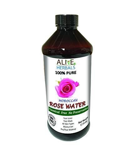 Natural Rose Water For Cooking, Face and Hair - 17 Oz.100% Natural Moroccan Rosewater (Chemical Free).Best Complete Facial & Skin Toner, Hair Oil, Moisturizer and Cleanser - aliveherbal.