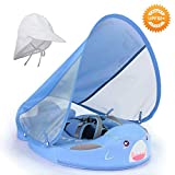 HECCEI Baby Shark Swim Float with Canopy Solid Pool Infant Swim Trainer Swimming Training Lying Air Free Water Floats Non-Inflatable Waist Swim Ring for Toddlers (3-24 Months)