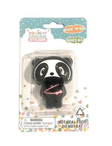 Black Panda 2 inch Squishy Stess Relief on The go Sticker for Cell Phones iPad Laptop Mirror
