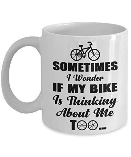 Soms vraag ik me af of mijn fiets denkt aan mij te fietser koffiemok grappige kop thee cadeau voor Kerstmis Vaderdag Kerstmis vader verjaardag Moederdag Papa Hart