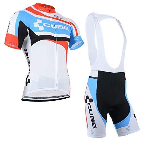 CQXMM Fahrradtrikot Kurzarm Set für Herren Radtrikot T Shirt Radsport Radtrikot Set Fahrrad Trikot Kurzarm+Radhose mit 3D Gel,Ursprüngliche Gaze Radjacke und Radhose,Cycling Jersey Radtrikot