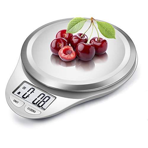 CAMRY Balance de Cuisine Balance numérique Balance électronique Professionnelle avec précision jusqu'à 1g Poids Maximum 5kg Affichage LCD Tare Auto Off Acier Inoxydable (Blanc)