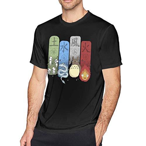 ip Mens Classic Ghibli Elemental Charms T-Shirts Black Camisetas y Tops(XX-Large)