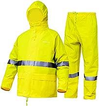 Rain Suit for Men Women Safety Rain Set Rain Gear Heavy Duty Waterproof Waterproof Reflective High Visibility (Jacket/ Pants) (Fluorescent,X-Large)