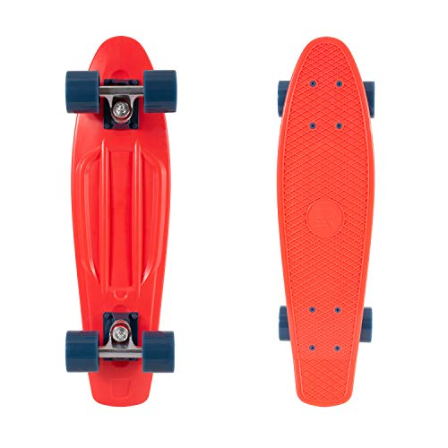 Retrospec Quip Skateboard 22.5  Classic Retro Plastic Cruiser Complete Skateboard with Abec 7 bearings and PU wheels, Red & Navy (3167)