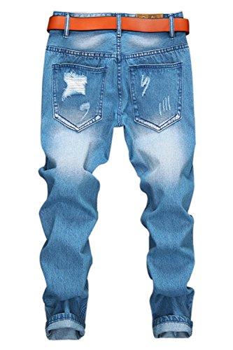 Men's Distressed Moto Biker Jeans Straight Slim Fit Denim Pants (W30)