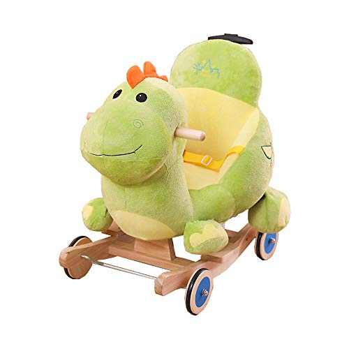 Buy Cheap Kibten Baby Rocking Horse Wooden Toddler Rocker eith Putter, Green Dinosaur Kid Rocking To...