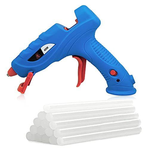 Hot Glue Gun by FL , Hot Melt Glue Gun Kit with 15 pcs Glue Sticks High Temperature , Packaging, DIY, Arts & Craft, Repair and More Light Blue-40W