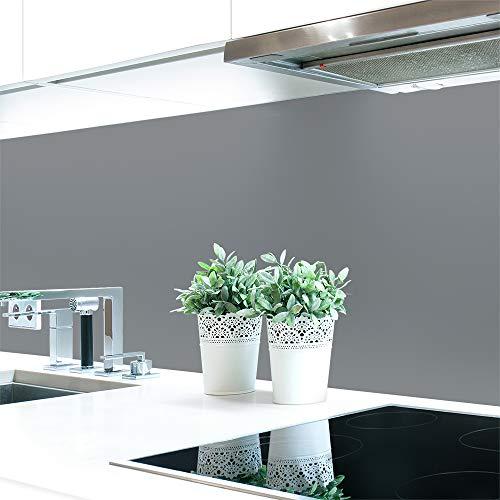 Küchenrückwand Grautöne 2 Unifarben Premium Hart-PVC 0,4 mm selbstklebend - Direkt auf die Fliesen, Größe:220 x 60 cm, Ral-Farben:Staubgrau ~ RAL 7037