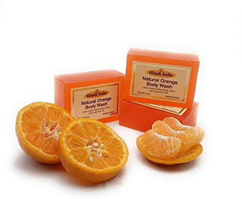 Glamorous Hub Khadi India Bagno Doccia Ayurvedico Arancione Fatto A Mano 125 Gm (Confezione Da 3) (L'imballaggio può variare)