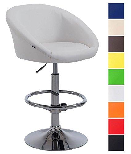Taburete Miami V2 en Cuero Sintético I Taburete Cocina Giratorio & Regulable en Altura I Color:, Color:Blanco