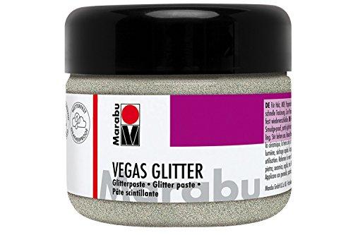Marabu 12690025582 - Glitzernde Effektpaste, Vegas Glitter silber 225 ml, auf Wasserbasis, wetterfest, schnell trocknend, zum Pinseln oder Schablonieren auf saugenden Untergründen