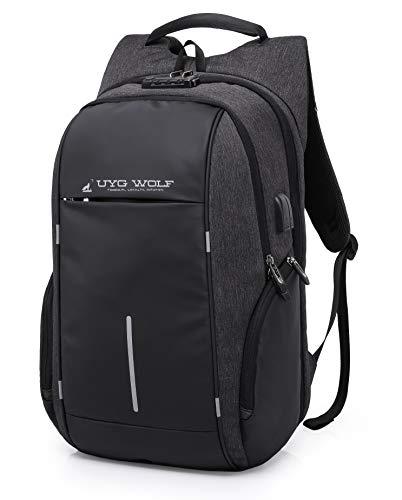 UYG WOLF Qualitäts-Rucksack + Bluetooth-Tracker + 39,6-43,9 Zoll Laptoprucksack TSA Zahlenschloss USB-Anschluss Reiserucksack Business Rucksack Anti-Diebstahl Wasserdicht Reisetasche Schultasche