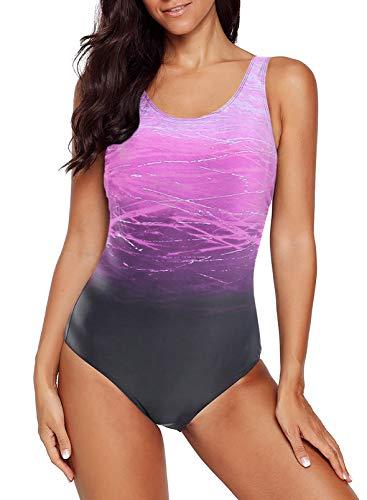 Happy Sailed Damen Badeanzug Farbverlauf Kreuz Rückseite Einteiler Swimsuit, 1 Lila, X-Large (EU44-46)