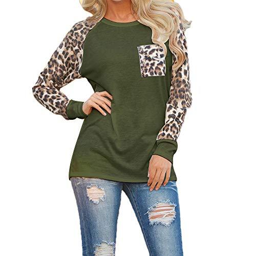 Camiseta de manga larga para mujer, elegante, cuello redondo y sexy, bloque de colores, estampado de leopardo suelto Verde militar. M