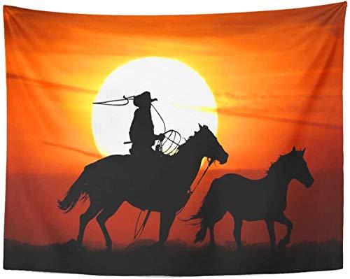 Caballo vaquero montar a caballo Mustang cuerda tapiz colgante de pared para sala de estar dormitorio dormitorio 150x200cm