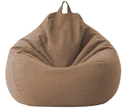 MeButy Puf gigante para sofá sin relleno Lazy Lounger con respaldo alto, para adultos y niños, color marrón