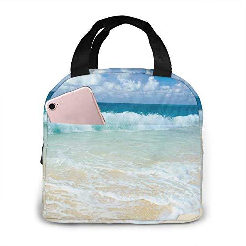 Lunchtasche mit Schaumwellen auf leerem Meeresufer-Motiv, für Damen, Mädchen, Kinder, isoliert, Picknick-Tasche