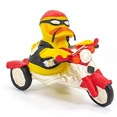 Motorcylist Biker Presents Rubber Duck Bath Toy | All Natural, Organic, Eco Friendly, Squeaker | Imported from Barcelona, Spain