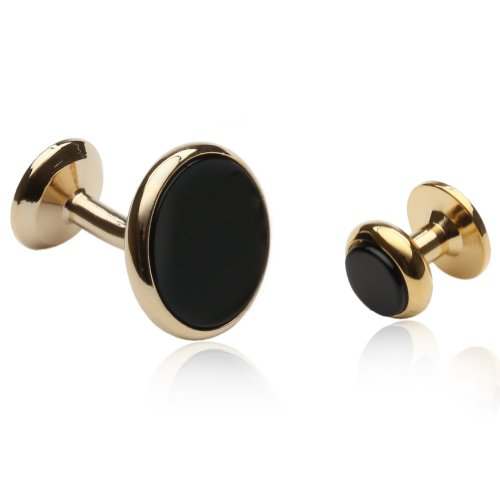 Mens Black Onyx Gold Cufflinks and Studs Formal Set with Presentation Gift Box