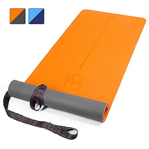 "XGEAR Yoga Mat with Carrying Strap - Non-Slip Textured Surface- Eco Friendly Exercise Workout Mat- Exercise & Fitness Mat with Alignment Line For Yoga, Pilates and Floor Exercises Orange/Grey (72""X 24"