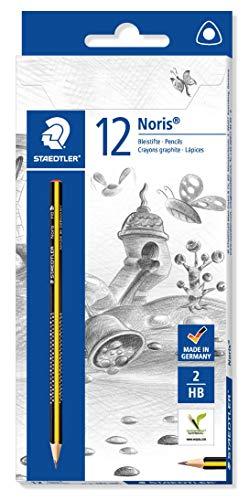 STAEDTLER Bleistift Noris (hohe Bruchfestigkeit, ergonomische Dreikantform, rutschfeste Soft-Oberfläche, Wopex-Material, Härtegrad HB, Kartonetui mit 12 Bleistiften, 183-HB)